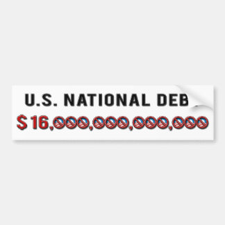 US National Debt 2012 Car Bumper Sticker