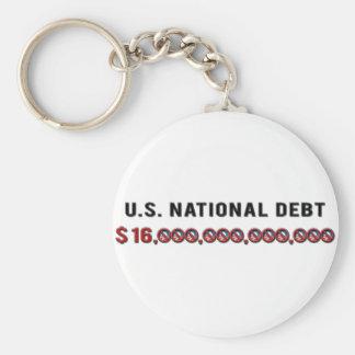 US National Debt Basic Round Button Keychain
