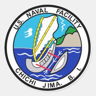 US NAVAL FACILITY CHICHI JIMA BONIN ISLANDS CLASSIC ROUND STICKER
