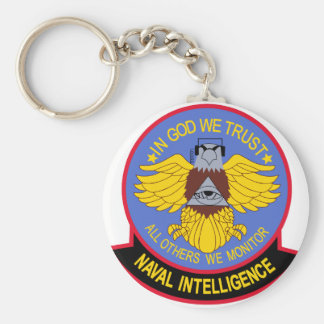 US NAVAL INTELLIGENCE Military Patch Basic Round Button Keychain