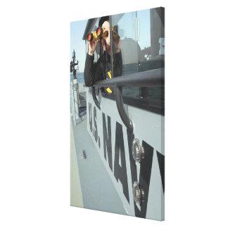 US Navy Boatswain's Mate looks through binocula Canvas Print