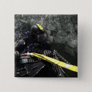 US Navy Diver gets ready to start his dive Pinback Button