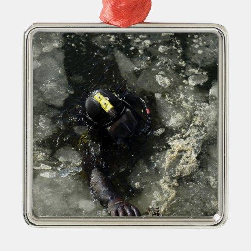 US Navy Diver Square Metal Christmas Ornament