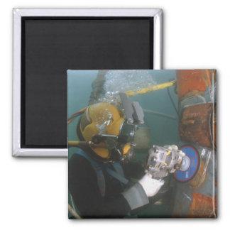 US Navy Diver uses a grinder Refrigerator Magnet