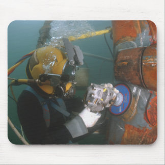 US Navy Diver uses a grinder Mouse Pad