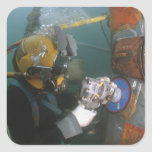 US Navy Diver uses a grinder Square Stickers