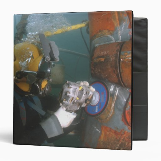 US Navy Diver uses a grinder Vinyl Binders