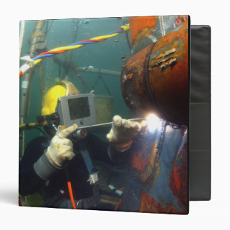 US Navy Diver welds a repair patch 3 Ring Binder