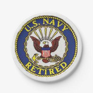 US Navy Retired Paper plates  sc 1 st  Zazzle & Military Retirement Plates   Zazzle