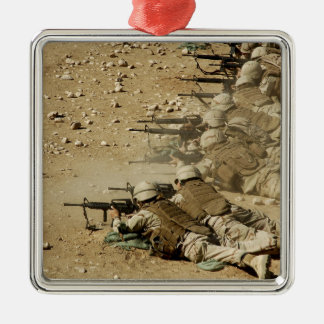 US Navy Seabees fire M-4 and M-16A2 rifles Square Metal Christmas Ornament