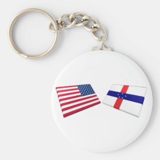US & Netherlands Antilles Flags Keychains
