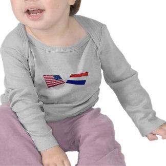 US & Netherlands Flags T Shirt