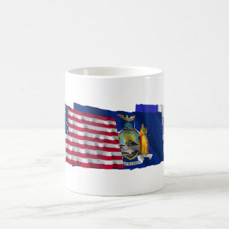 US, New York State and New York City Flags Coffee Mug