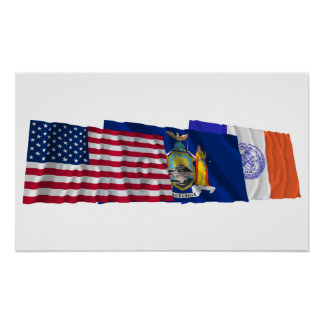 US, New York State and New York City Flags Poster