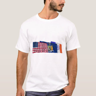 US, New York State and New York City Flags T-Shirt