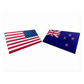US & New Zealand Flags Postcard