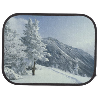 US, NH, Snow covered trees Trails Snoeshoe Car Floor Mat