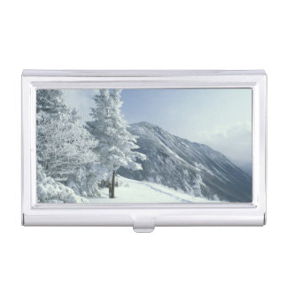 US, NH, Snow covered trees Trails Snoeshoe Case For Business Cards