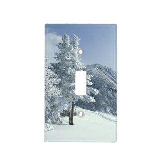 US, NH, Snow covered trees Trails Snoeshoe Light Switch Cover