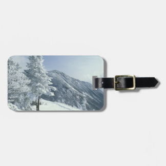 US, NH, Snow covered trees Trails Snoeshoe Luggage Tag