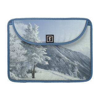 US, NH, Snow covered trees Trails Snoeshoe Sleeve For MacBooks