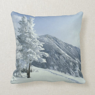 US, NH, Snow covered trees Trails Snoeshoe Throw Pillow