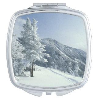 US, NH, Snow covered trees Trails Snoeshoe Vanity Mirror
