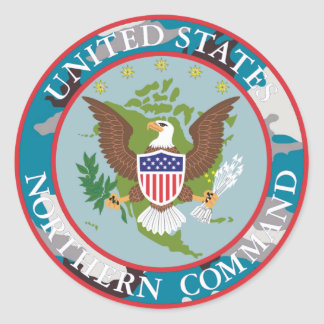 US Nortern COMMAND blue camouflage Classic Round Sticker