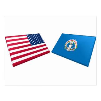 US & Northern Marianas Flags Postcard