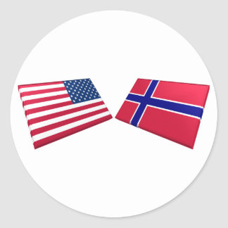 US Norway Flags Round Sticker