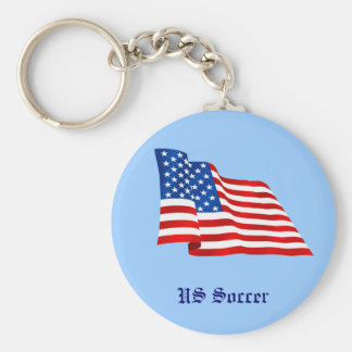 US old glory flag of the United States Basic Round Button Keychain
