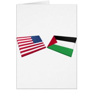 US & Palestine Flags Card