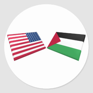 US & Palestine Flags Classic Round Sticker