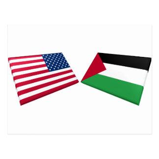 US & Palestine Flags Postcard