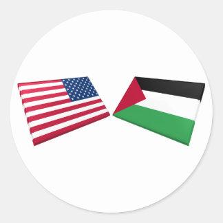 US & Palestine Flags Round Sticker
