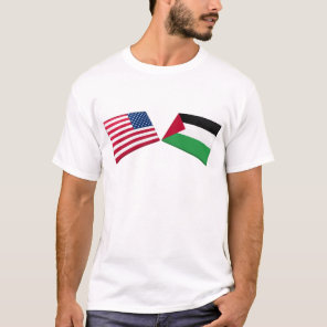 US & Palestine Flags T-Shirt