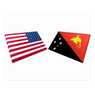 US & Papua New Guinea Flags Postcard