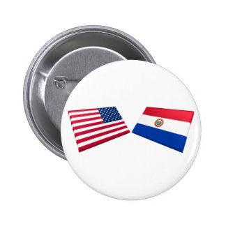 US & Paraguay Flags 2 Inch Round Button