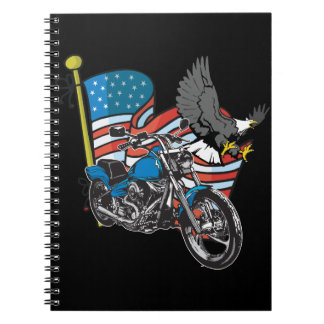 US Patriotic Flag Flying Eagle Motorcycle Notebook Spiral Notebooks