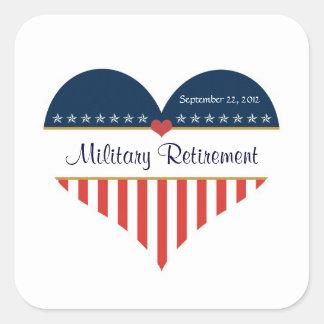 US Patriotic Heart Military Retirement Stickers