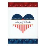 "US Patriotic Heart Personalized Wedding Invitation 5"" X 7"" Invitation Card"