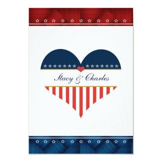 US Patriotic Heart Personalized Wedding Invitation