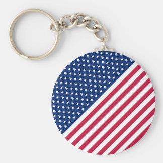 US Patriotic Red Blue White Stars Stripes Keychain
