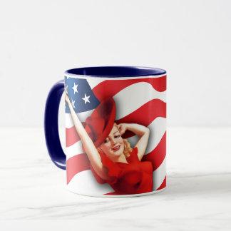 US Patriotic Retro Pin-up Design Gift Mug