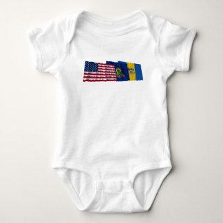 US, Pennsylvania and Philadelphia Flags Baby Bodysuit