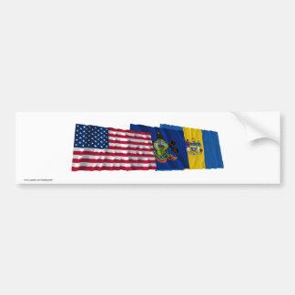 US, Pennsylvania and Philadelphia Flags Bumper Sticker