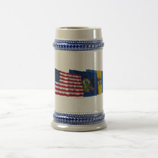 US, Pennsylvania and Philadelphia Flags Coffee Mug