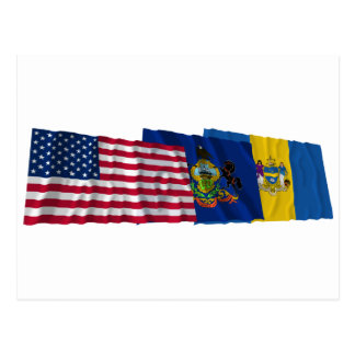 US, Pennsylvania and Philadelphia Flags Postcard