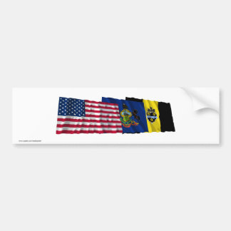 US, Pennsylvania and Pittsburgh Flags Bumper Sticker