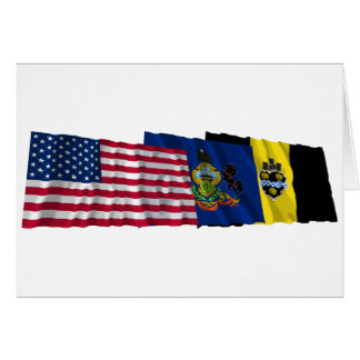 US, Pennsylvania and Pittsburgh Flags Card